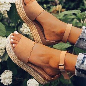 Scalloped Espadrille Wedge Flatform Sandal